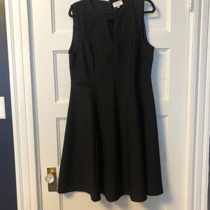 Black Textured fit'n'flare dress w/ eyelet details